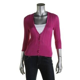 Lauren Ralph Lauren Womens Cardigan Top Knit V-Neck