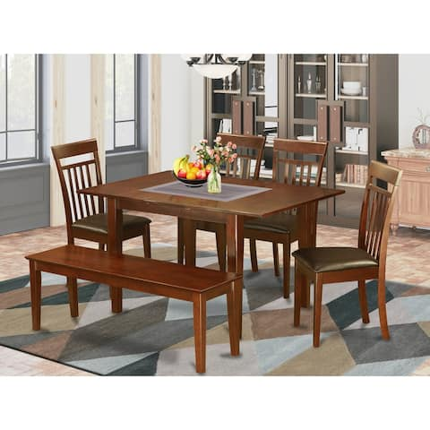 PSCA6C-MAH Mahogany Finish 4-chair and Dining Bench 6-Piece Dining Table Set
