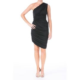 Halston Womens Ruched One Shoulder Cocktail Dress
