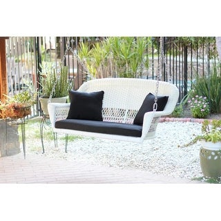 """51.5"""" Hand Woven White Resin Wicker Outdoor Porch Swing with Black Cushion"""