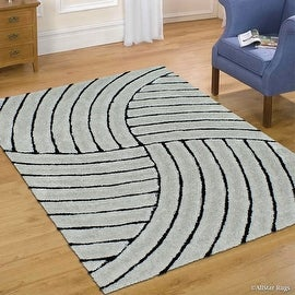 AllStar Rugs Grey Shaggy Area Rug with 3D Design with Black Lines. Contemporary Formal Casual Hand Tufted (5' x 7')