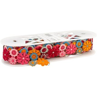"""Embroidered Floral Mesh 1-5/8""""X10yd-Multi"""