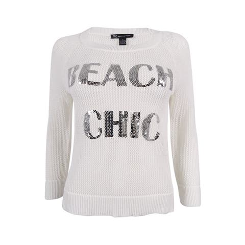 INC International Concepts Women's Sheer Graphic Sweater (S, Bright White) - S