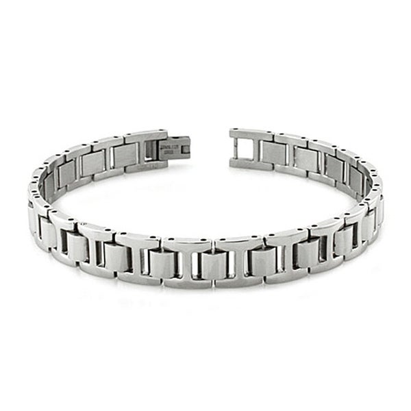 Stainless Steel Classic Half-Dome Link Bracelet - 8 inches