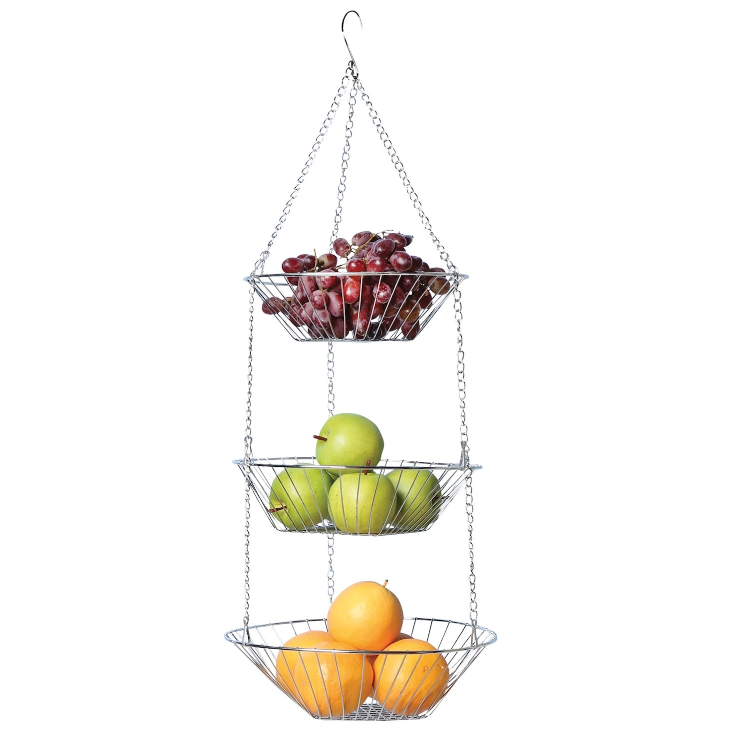 Home District Hanging Fruit Baskets 3 Tiered Adjule Chrome Wire Produce Storage Bowl Holders Hang From Ceiling Metal