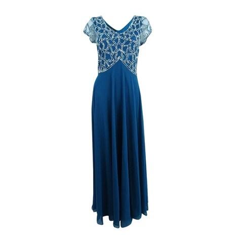 J Kara Women's Hand-Beaded A-Line Gown