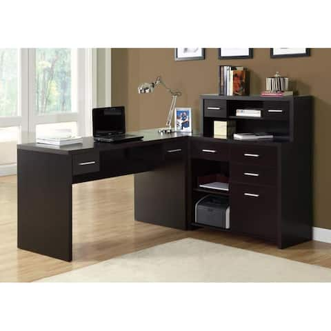 Offex Contemporary Cappuccino Hollow-Core L Shaped Home Office Desk