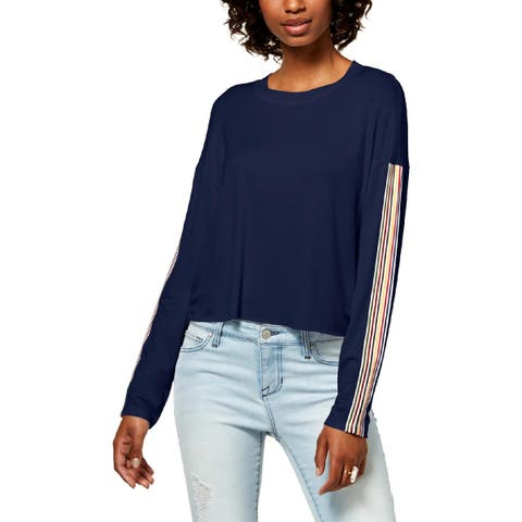 Ultra Flirt Womens Crop Sweater Adjustable Ribbed Trim - L