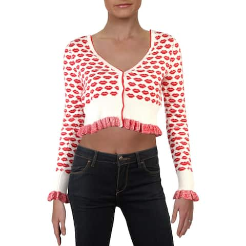 French Connection Womens Lips Sweater Printed Ribbed Trim - White/Red - XS