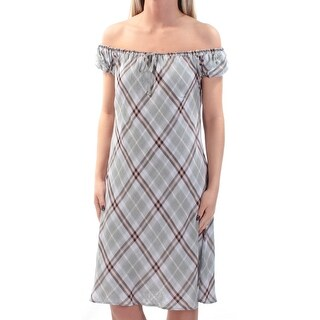 Womens Gray Plaid Short Sleeve Above The Knee Shift Dress Size: 98