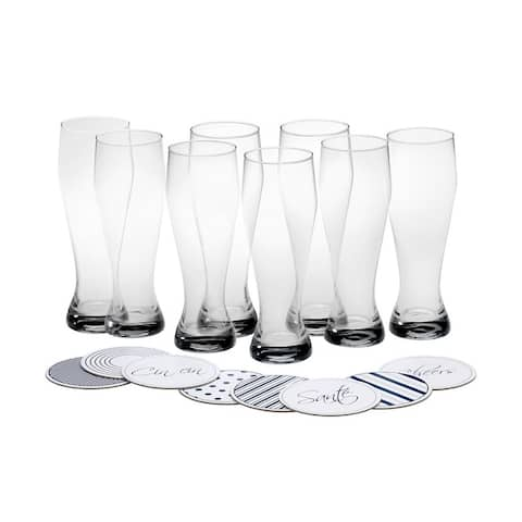 Mikasa 'Cheers' 22 oz.Wheat Beer Glass with Coaster (Set of 8)
