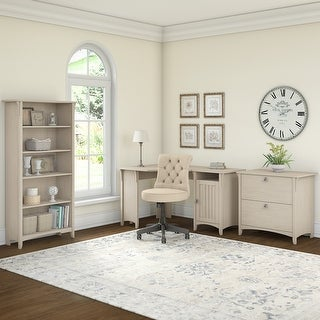The Gray Barn Lowbridge Corner Desk with Lateral File Cabinet