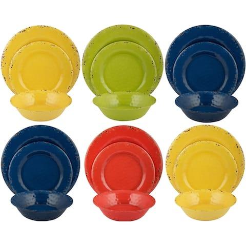 Melange 54-Piece Melamine Dinnerware Set (Rustic Collection )