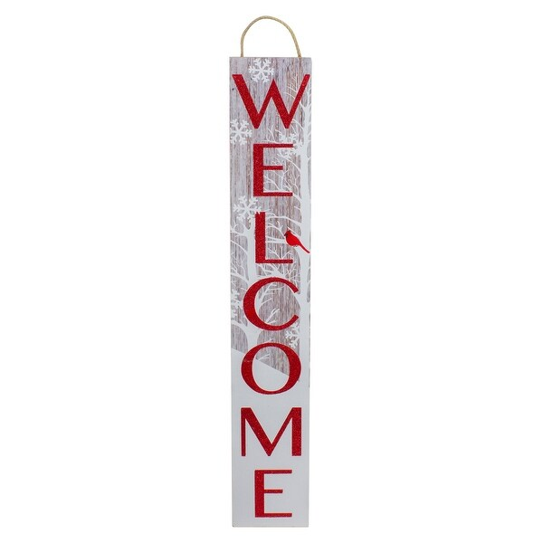 Red and White Cardinal 'Welcome' Christmas Wall Decor. Opens flyout.