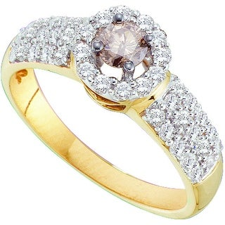 14k Yellow Gold Cognac-brown Solitaire Diamond Halo Womens Bridal Wedding Engagement Ring 3/4 Cttw - Brown/White