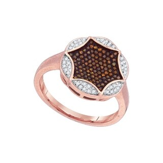 10kt Rose Gold Womens Round Red Colored Diamond Cluster Fashion Ring 1/3 Cttw - White