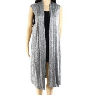 Alfani NEW Gray Jaspe Women's Size Medium M Long Knit Vest Sweater