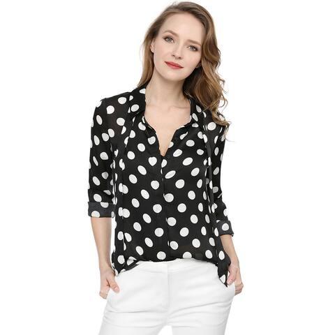 Unique Bargains Women's Tie Neck Blouse Button Down Polka Dot Shirt - Black