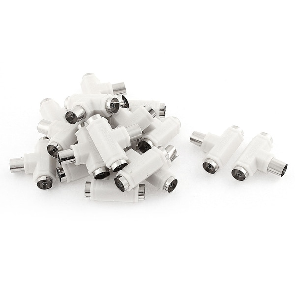 Unique Bargains 20 Pcs TV PAL Male to Female Antenna RF Coaxial Connector 3 Way Splitter White