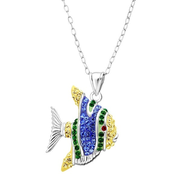 Crystaluxe Tropical Fish Pendant with Swarovski Crystals in Sterling Silver - Blue