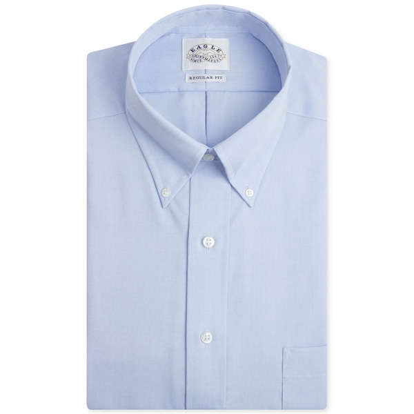 """Eagle Mens Non-Iron Button Up Dress Shirt, blue, 16.5"""" Neck 35""""-36"""" Sleeve. Opens flyout."""