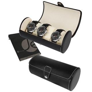 JAVOedge Black 3 Slot Cylinder Watch Storage Box with Snap Closure