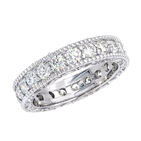 Ladies Eternity Band Anniversary Round Diamond Ring 2.4ctw in Platinum by Luxurman