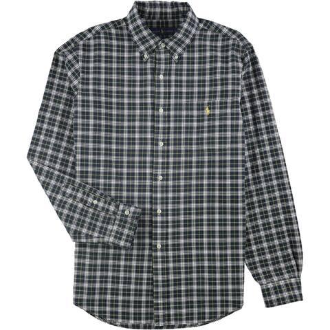 Ralph Lauren Mens Plaid Button Up Shirt, Green, X-Small