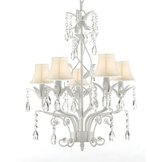 Wrought Iron and Crystal 5 Light White Chandelier Pendant Lighting Can be Hardwired or Plugged in ! Shades Included !