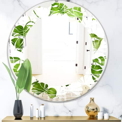 Designart 'Tropical Palm Leaves II' Modern Round or Oval Wall Mirror - Leaves