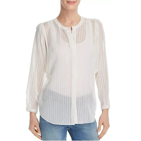 Joie. Womens White Rashelda Striped Sheer Long Sleeve Blouse