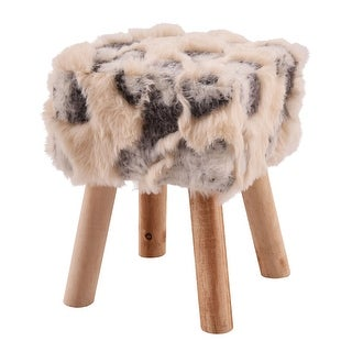 Costway Faux Fur Square Stool Classic Footstool Chair Seat Home Furni W/4 Wooden Legs