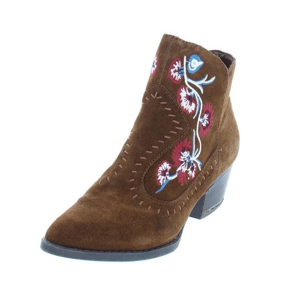 Carlos by Carlos Santana Womens Vivien Booties Suede Stacked Heel