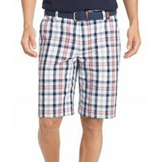 IZOD NEW White Men's Size 30 Khakis Chinos Portsmith Plaid Shorts