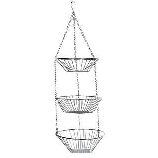 Home District 3-Tier Chrome Hanging Fruit Basket - Adjustable Graduated Wire Food Storage Bowls - metal