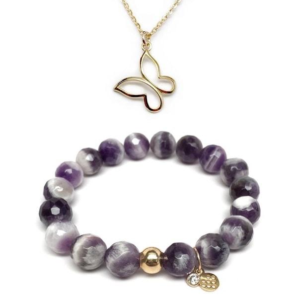 """Purple Amethyst 7"""" Bracelet & Butterfly Gold Charm Necklace Set"""