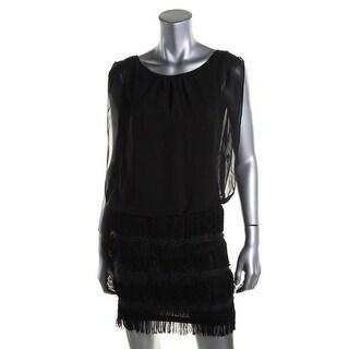 Aidan Mattox Womens Cocktail Dress Chiffon Sleeveless (Option: 0)