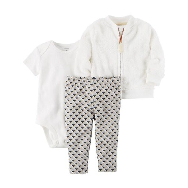 67d9beadc54b Shop Carter s Baby Girls  3 Piece Ivory Sherpa Jacket Set- Geo - 18 ...
