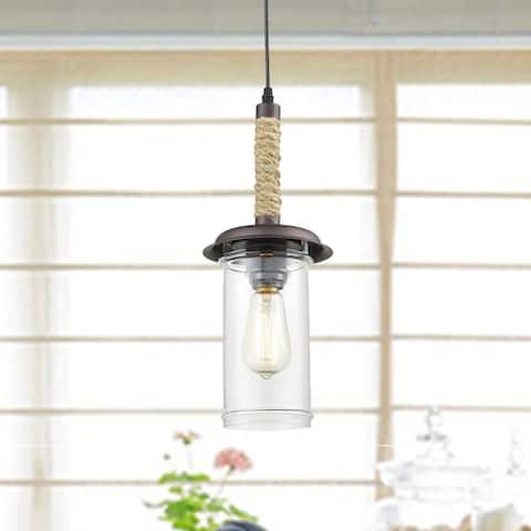 Lombardy Farmhouse Hemp Rope Glass Pendant Lights Cylinder Shape