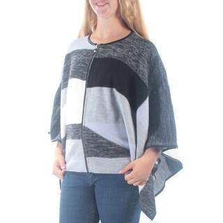 ALFANI $179 Womens New 1271 Gray Striped Faux Leather PONCHO Top M B+B