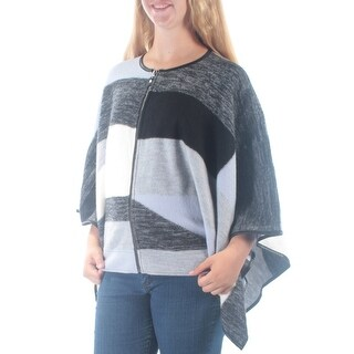 ALFANI $180 Womens New 1414 Gray Striped Faux Leather Dolman Sleeve Top XL B+B