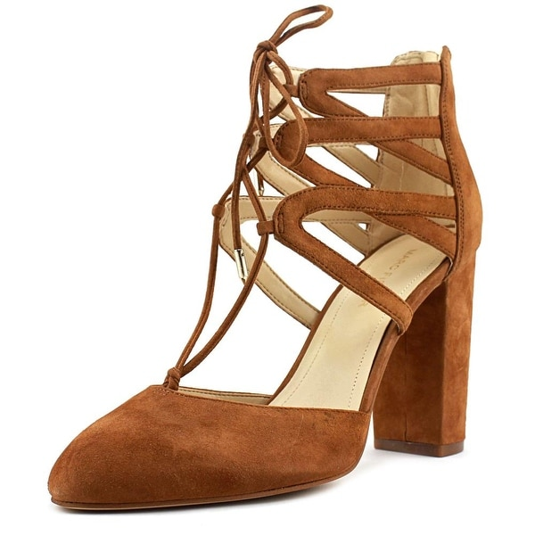 Marc Fisher Shellie Women Round Toe Suede Tan Heels
