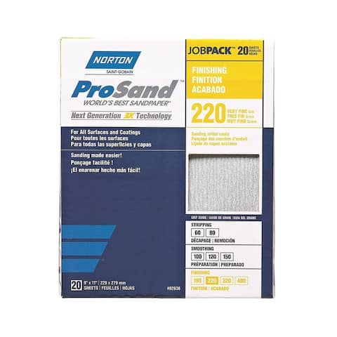 Norton 02636 ProSand 3X High Performance Sanding Sheet, 220 Grit