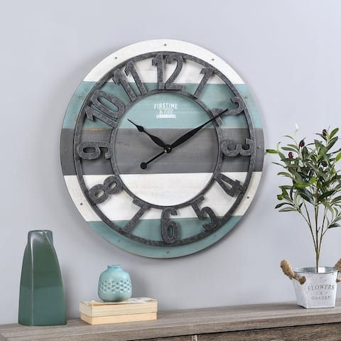 FirsTime & Co.® Teal Shabby Farmhouse Planks Clock, American Crafted, Aged teal, Wood, 27 x 2 x 27 in - 27 x 2 x 27 in