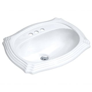 "Build Essentials DLS-SCAL-2318  18"" Drop In Vitreous China Bathroom Sink with 3 Holes Drilled and Overflow - White"