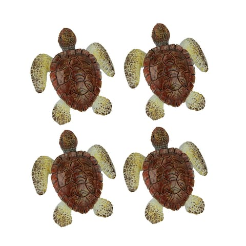 Brown Sea Turtle Drawer or Cabinet Door Pulls Set of 4 - 2.25 X 2 X 1 inches