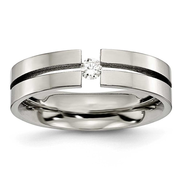 Chisel Polished Titanium and 1/10ct. Diamond Ring (6.0 mm)