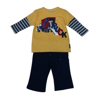 American Character Baby Boys Navy Yellow Truck Detail 2 Pc Pant Set