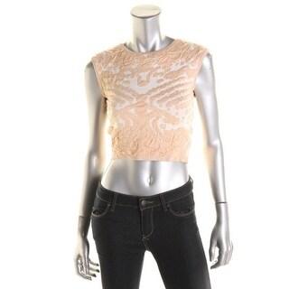 Lucy Paris Womens Textured Sleeveless Crop Top