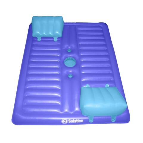"""77"""" Inflatable Purple and Blue Dual Swimming Pool Lounger with Mini Cooler"""